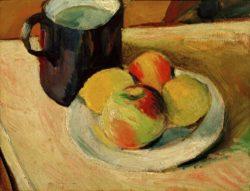 """August Macke """"Milchkrug und Äpfel auf Teller"""" 35 x 27 cm"""