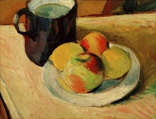 """August Macke """"Milchkrug und Äpfel auf Teller"""" 35 x 27 cm 1"""