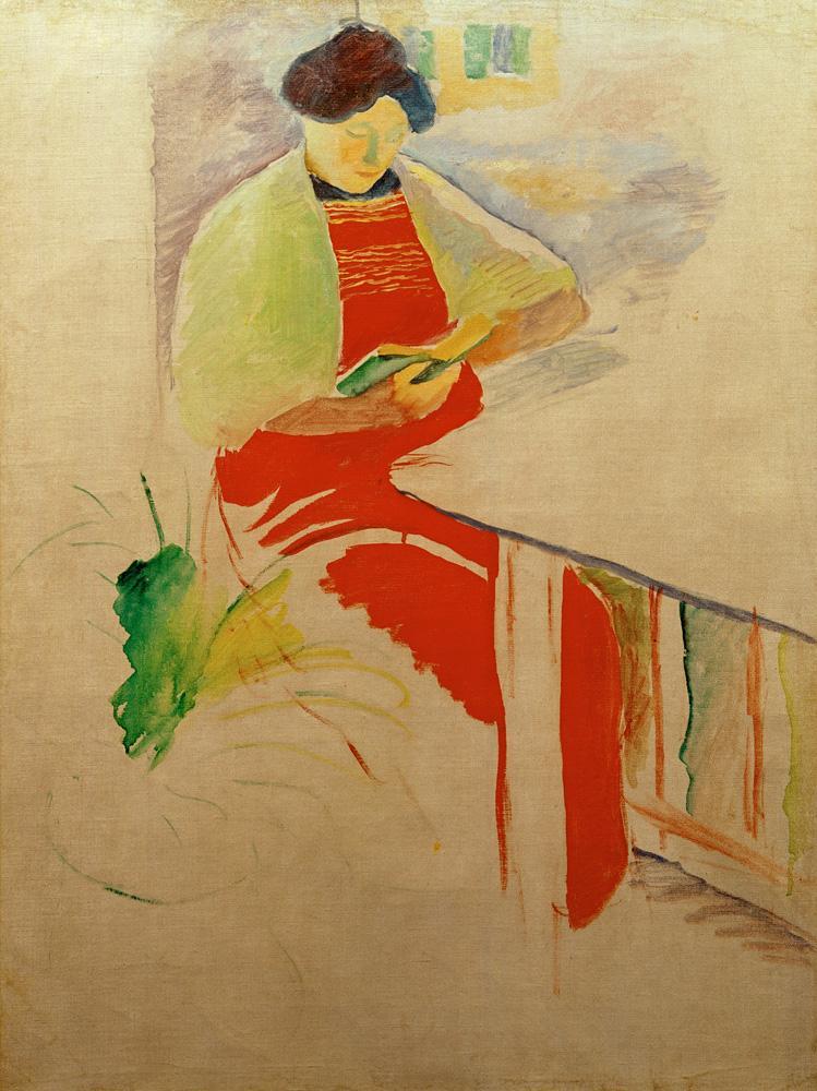 """August Macke """"Frau mit roter Schürze auf Balkon (Elisabeth)"""" 49 x 67 cm"""