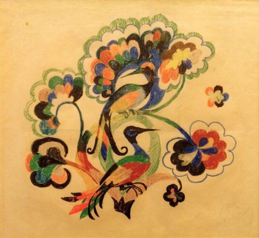 """August Macke """"Bunte Vögel in Bäumen, Entwurf für Stickerei"""" 32 x 27 cm 1"""