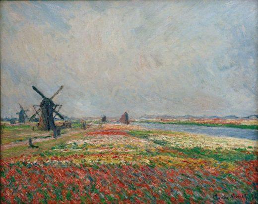 """Claude Monet """"Blumenfelder und Windmühlen bei Leiden"""" 81 x 65 cm 1"""