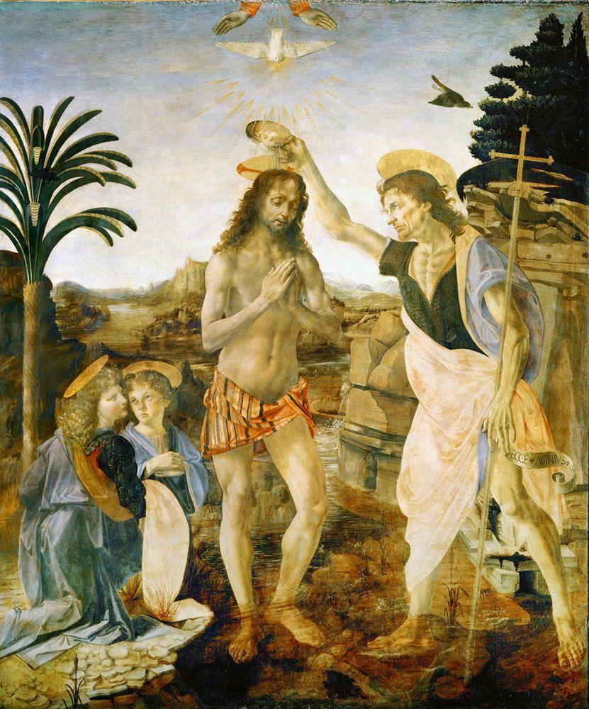 """Leonardo da Vinci """"Taufe Christi"""" 172 x 180 cm"""