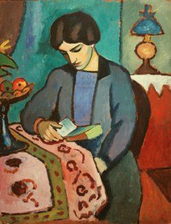 """August Macke """"Die Frau des Künstlers"""" 81 x 105 cm"""