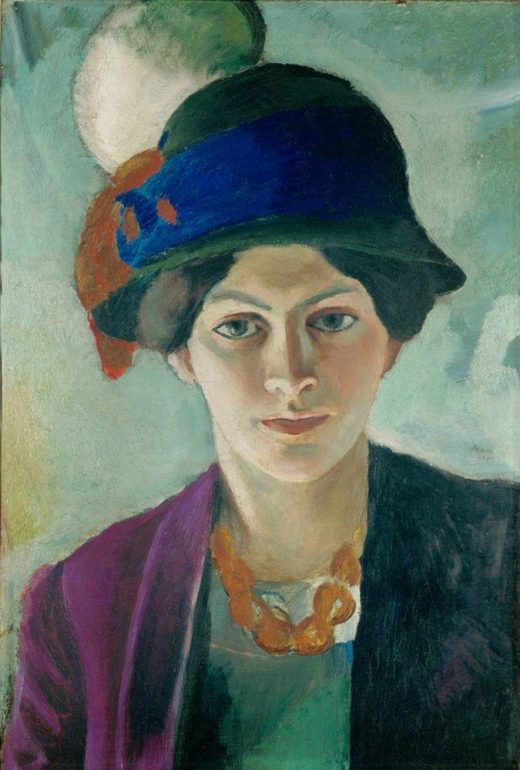 """August Macke """"Frau des Künstlers mit Hut"""" 34 x 50 cm 1"""