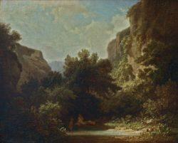 "Carl Spitzweg ""Felsige Gebirgslandschaft mit badenden Nymphen"" 29 x 36 cm"