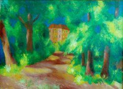 "August Macke ""Rotes Haus im Park"" 82 x 60 cm"