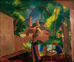 """August Macke """"Kinder am Brunnen mit Stadt im Hintergrund"""" 75 x 63 cm"""