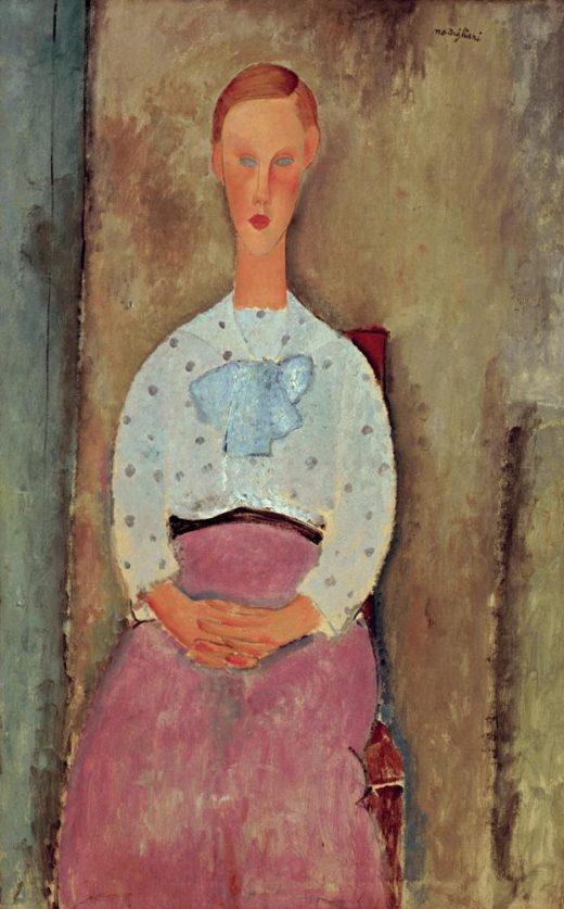 """Amedeo Modigliani """"Mädchen in gepunkteter blauer Bluse"""" 105 x 73″cm 1"""