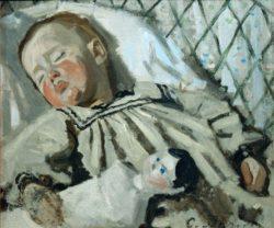 """Claude Monet """"Der schlafende Sohn des Künstlers Jean Monet"""" 50 x 42 cm"""