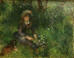 """Auguste Renoir """"Aline Charigot mit Hund"""" 41 x 32 cm"""