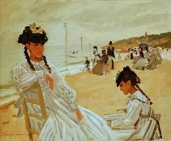 """Claude Monet """"Am Strand in Trouville"""" 46 x 38 cm"""