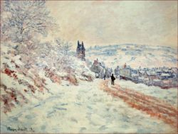 """Claude Monet """"Die Straße nach Vetheuil  Schneestimmung"""" 81 x 61 cm"""