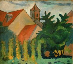 "August Macke ""Kirche in Kandern"" 35 x 30 cm"