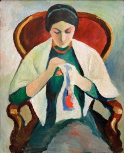 "August Macke ""Stickende Frau am Sessel: Porträt der Frau des Künstlers"" 45 x 55 cm"