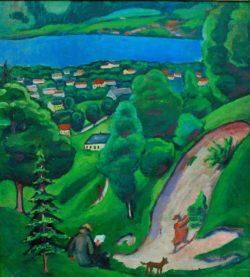 "August Macke ""Landschaft am Tegernsee"" 55 x 61 cm"