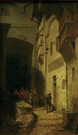 """Carl Spitzweg """"Die Scharwache"""" 53 x 31 cm"""