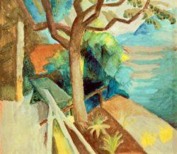 """August Macke """"Nach Sonnenuntergang am See"""" 36 x 26 cm"""