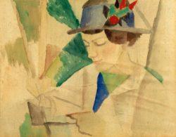 """August Macke """"Die Frau des Malers, lesend"""" 30 x 24 cm"""