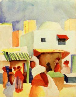 """August Macke """"Markt in Tunis I"""" 23 x 29 cm"""