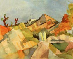 "August Macke ""Felsige Landschaft"" 27 x 21 cm"
