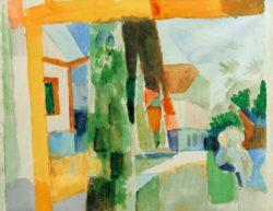 """August Macke """"Unser Garten am See 4"""" 31 x 24 cm"""