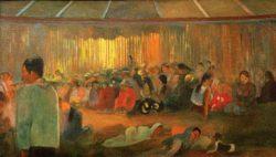 """Paul Gauguin """"Die Hütte der Gesänge (Te fare hymenee)""""  90 x 50 cm"""