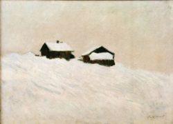 """Claude Monet """"Häuser im Schnee in Norwegen"""" 84 x 61 cm"""
