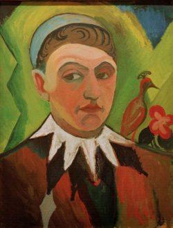 "August Macke ""Clown, karikiertes Selbstbildnis"" 41 x 53 cm"