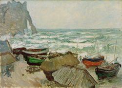 """Claude Monet """"Fischerboote am Strand Etretat"""" 124 x 74 cm"""