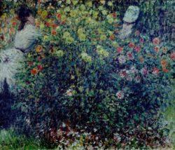 """Claude Monet """"Junge Mädchen in einem Dahlienbeet"""" 65 x 54 cm"""