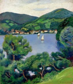 """August Macke """"Ansicht vom Tegernsee"""" 55 x 48 cm"""