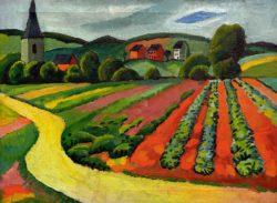 """August Macke """"Landschaft mit Kirche und Weg"""" 62 x 46 cm"""