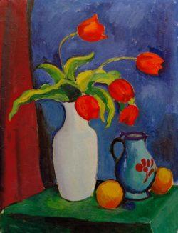 """August Macke """"Rote Tulpen in weißer Vase"""" 53 x 70 cm"""