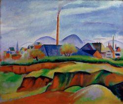 """August Macke """"Landschaft mit Fabrik"""" 72 x 61 cm"""