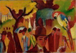 """August Macke """"Kleiner Zoologischer Garten in Braun und Gelb"""" 68 x 47 cm"""