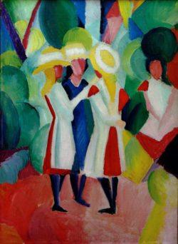 """August Macke """"Drei Mädchen mit gelben Strohhüten I"""" 48 x 66 cm"""