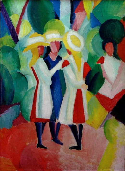 """August Macke """"Drei Mädchen mit gelben Strohhüten I"""" 48 x 66 cm 1"""