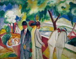 """August Macke """"Spaziergänger (Großer heller Spaziergang)"""" 104 x 81 cm"""