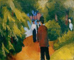 "August Macke ""Park am Wasser (Mann im Park)"" 54 x 44 cm"