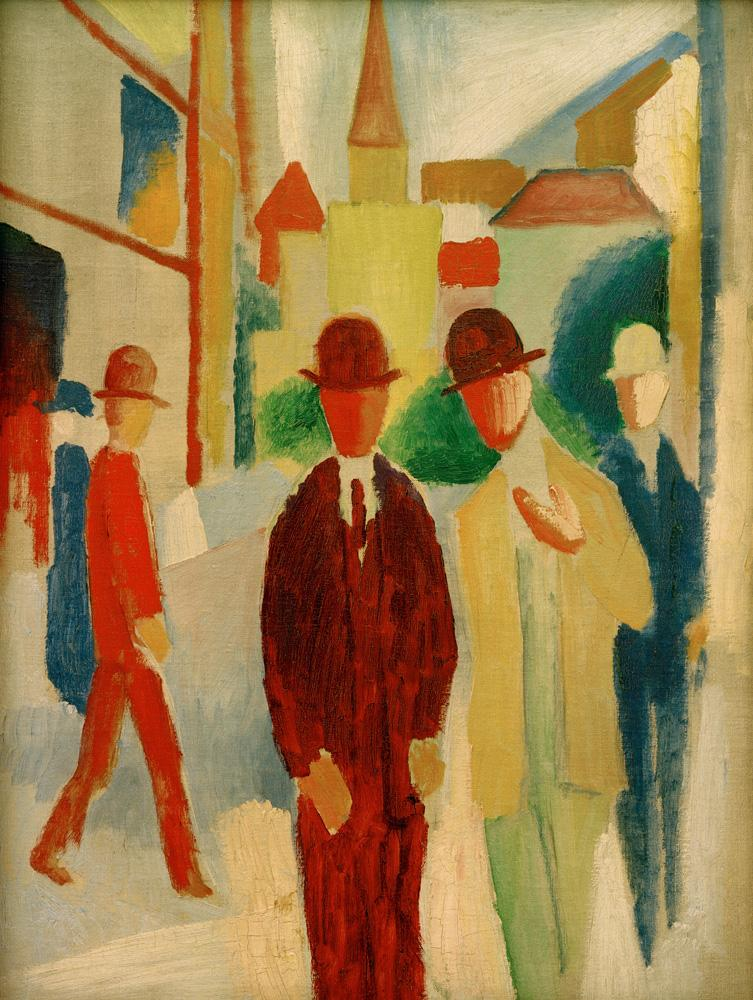 """August Macke """"Helle Straße mit Leuten"""" 47 x 62 cm"""