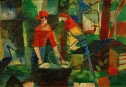 """August Macke """"Frau mit Papagei in einer Landschaft"""" 68 x 48 cm"""
