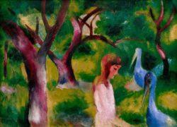 """August Macke """"Mädchen mit blauen Vögeln"""" 85 x 60 cm"""