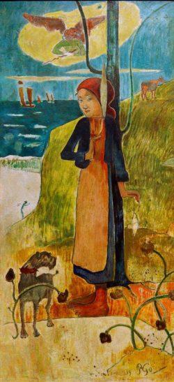 """Paul Gauguin """"Bretonisches Mädchen beim Spinnen (Johanna von Orléans)""""  58 x 116 cm"""