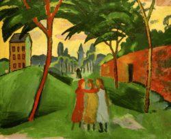 """August Macke """"Landschaft mit drei Mädchen"""" 64 x 55 cm"""