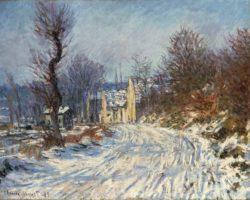 """Claude Monet """"Die Straße nach Giverny im Winter"""" 81 x 65 cm"""
