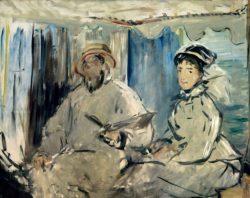 """Claude Monet """"Monet in seinem Atelierboot mit Ehefrau Camille"""" 135 x 106 cm"""