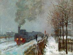 """Claude Monet """"Eisenbahn im Schnee"""" 78 x 59 cm"""