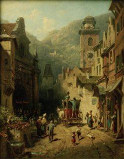 """Carl Spitzweg """"Der Besuch des Landesvaters"""" 31 x 23 cm"""
