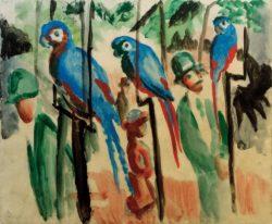 """August Macke """"Bei den Papageien"""" 38 x 31 cm"""