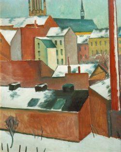 """August Macke """"Die Bonner Marienkirche im Schnee"""" 80 x 102 cm"""